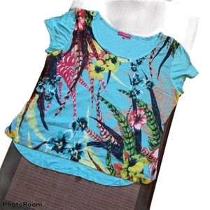 🌺 SAN FRANCISCO Teal Floral Graphic Top (Size XL)
